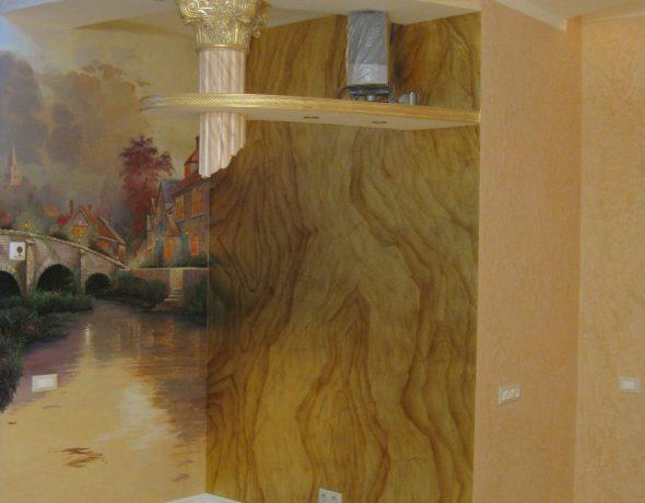 Художественное декорирование стен и золочение в частной квартире