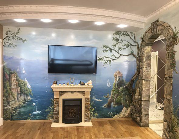 Художественная роспись и декорирование стен в квартире на Старомарьинском шоссе